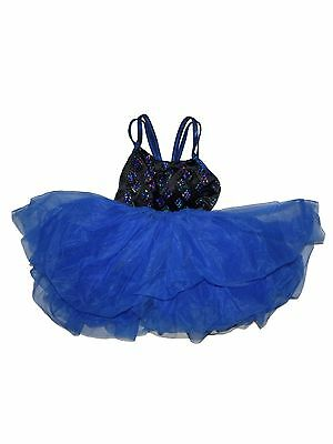 Girl Weissman's Black Royal Blue Sequin Tutu Ballet Dance Costume Size MC M