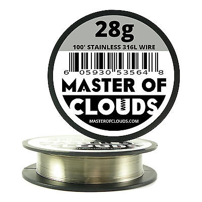 SS 316L - 100 ft. 28 Gauge AWG Stainless Steel Resistance Wire 0.32 mm 28g 100'