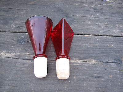 Red Glass Decorative Fancy Bottle Stoppers