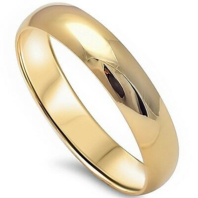 Solid 4Mm Plain Yellow Gold Plated .925 Sterling Silver Wedding Band Sizes 4-13