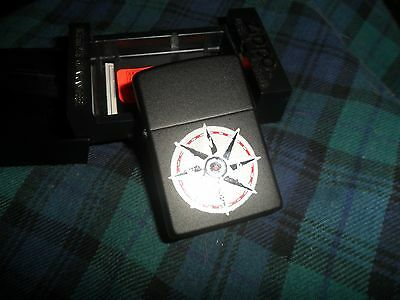 Zippo Lighter Black W/ Nautical Compass Print W/ Case Box Needs Flint