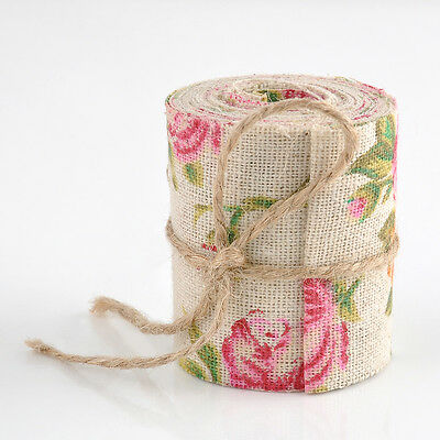 Burlap Hessian Ribbon Floral Print Fabric Vintage Wedding Trimming Craft Roll 3M