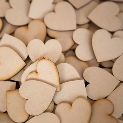 50pcs Wooden Love Heart Wood Shapes for Weddings Plaques Art Craft Embellishment