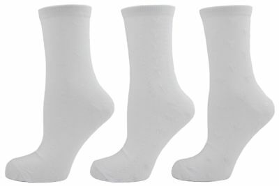 Bay 6 Girls Cotton Rich Textured Heart Short Socks White