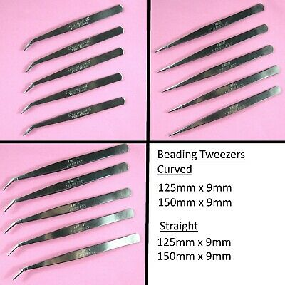 Stainless Steel Beading Tweezers Craft Card Making Repair Curved Point Jewellery