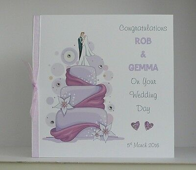 Wedding Day Congratulations Card  Large 8x8 inch Size Personalised Handmade