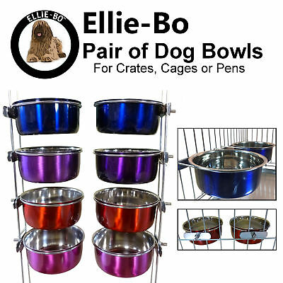 Ellie-Bo Pair of Dog Bowls For Cages, Crates or Pens - Blue, Purple, Pink or Red