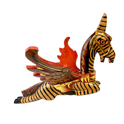 Winged Pegasus Zebra Horse Mobile Crib Guardian Hand Carved wood Bali Art