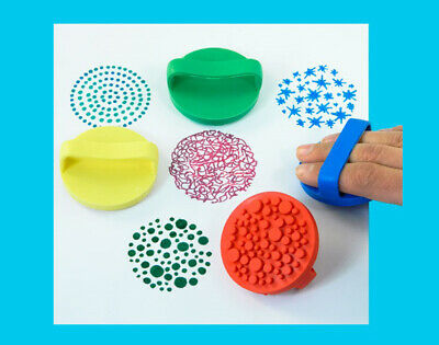 4 Textured Washable Rubber Palm Printers for Kids Painting | Sponge Paint Stamps
