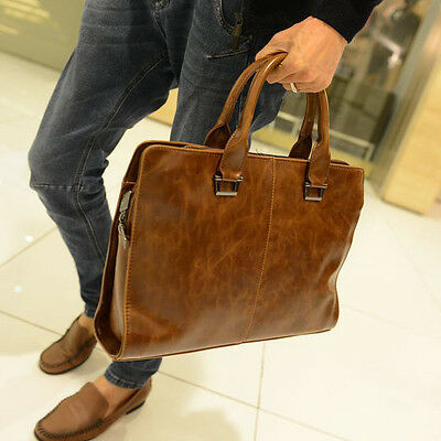 Men's Leather Shoulder Messenger Bags Business Laptop Handbag Work Bag Briefcase