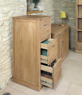 Bonsoni Mobel Oak 3 Drawer Filing Cabinet