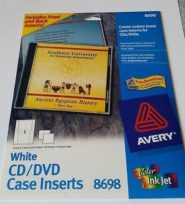 Avery 8698 Color Inkjet Cd/dvd Jewel Case Inserts 10 Front And Back/set
