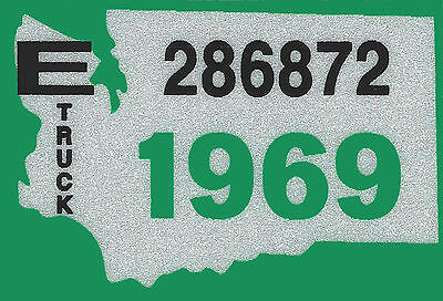 1969 WASHINGTON Vinyl Sticker Decal-TRUCK License Plate Registration TAB TAG-New