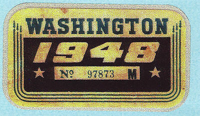 1948 WASHINGTON Registration WINDSHIELD Sticker Decal tab/tag PASSENGER/CAR -New