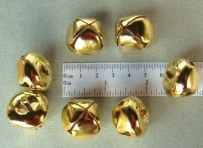"LOT 100 Shiny Gold Tone Jingle BELLS ~ 25mm (~1"") ~ Metal Craft Holiday Bells"