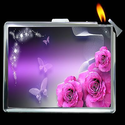 Roses And Butterflies Cigarette Case Box with Lighter