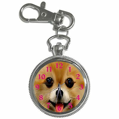 Smiling Pomeranian  Key Chain Keychain Pocket Watch