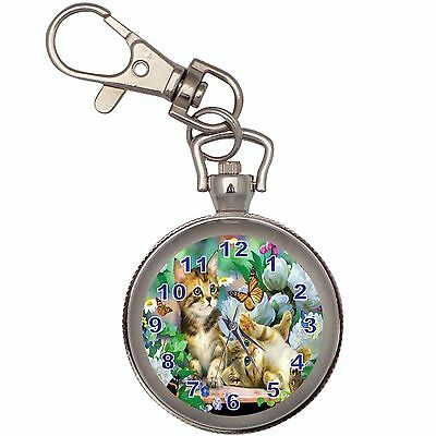 Playful Kitten  Key Chain Keychain Pocket Watch
