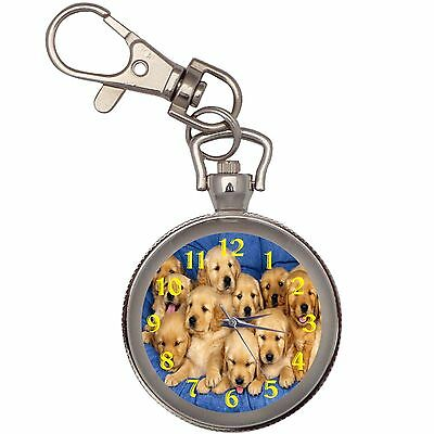 Golden Retriever Puppies  Key Chain Keychain Pocket Watch
