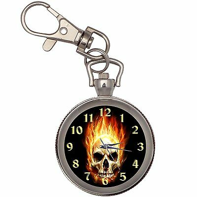 Hot Scorching Skull  Key Chain Keychain Pocket Watch