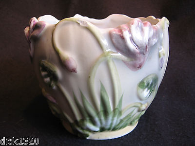 """VINTAGE RELIEF MOULDED & HAND-PAINTED 6"""" BULB PLANTER c.50's A/F"""