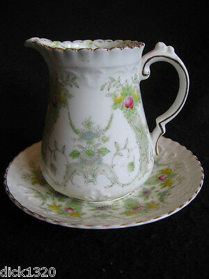 RARE EDWARDIAN SUTHERLAND ART CHINA (Wm.Hudson) #815 CREAMER with SAUCER c.1910s
