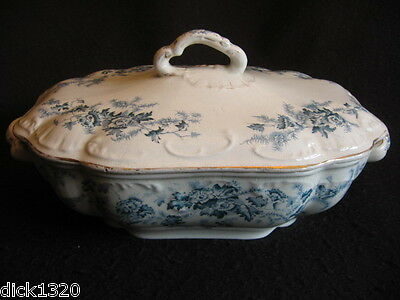 "Rare Victorian Edge,malkin & Co 'avon' Petrol Blue 11.5"" Tureen + Cover 1873-91"