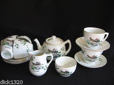 VINTAGE IRISH CARRIGALINE 'KILLARNEY' 15 pce PONY & TRAP/SHAMROCK TEA SERVICE EX