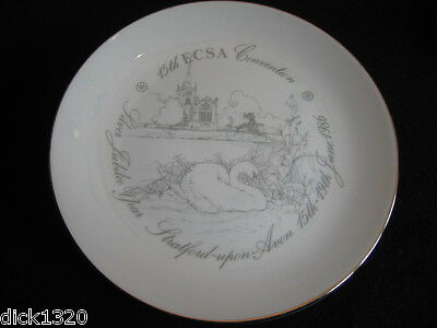 "COMM' 8.25"" PORCELAIN PLATE 15th ECSA Convention 1986 Stratford-upon-Avon Mint!!"