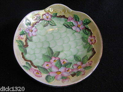 VINTAGE MALING HAND-PAINTED HANDLED BOWL 'EMBOSSED BLOSSOM BOUGH' GREEN c1954 EX