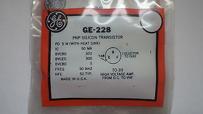 General Electric Ge-228 Pnp Silicon Transistor Nib