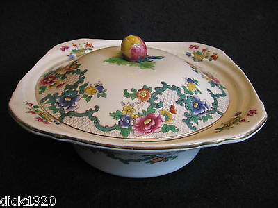 "RARE ROYAL CAULDON ""VICTORIA"" 10"" TUREEN with LID Scalloped gold trim EX"