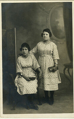 Carte Photo Twin Soeur Vers 1920