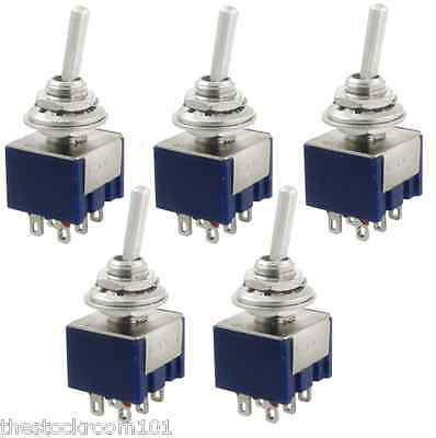 5x Toggle Switch DPDT 125V 6A ON/OFF/ON 3 Position 6 Terminals