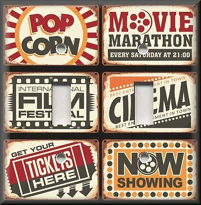 Home Theater Movie Signs Movie Room Home Decor Light Switch Plates