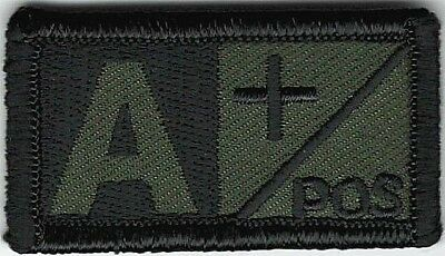 Olive Green Black Blood Type A+ Positive Patch VELCRO® BRAND Hook Fastener Compa