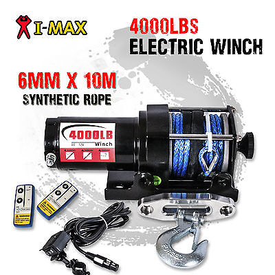 I-Max 12V Wireless 4000LB/1800KG Electric Synthetic Rope Winch ATV 4WD 4x4 Boat