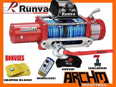 Runva 11Xp Red Ip67 11000Lb / 4990Kg W/dyneema Rope 12V Recovery Winch + Bonuses