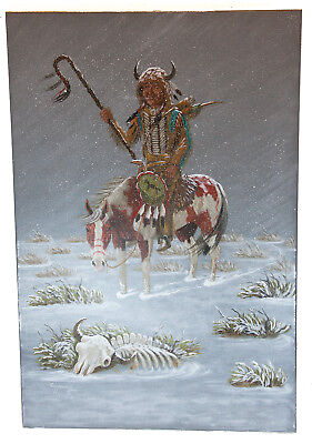 RetailTag $490 Navajo Indian Winter  Authentic Acrylic Native American Painting