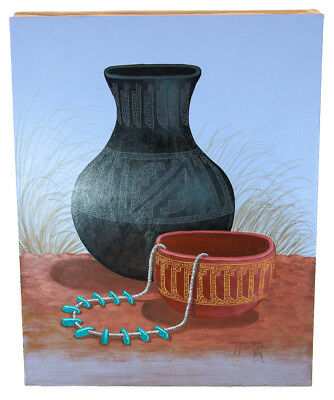 Retail Tag $350 Navajo Authentic Pottery  Acrylic Native American Painting