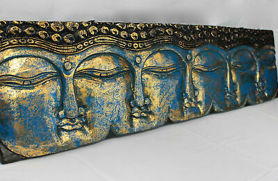 Infinite Faces Buddha Wall Sculpture Panel Hand Carved Painted Balinese art Blue