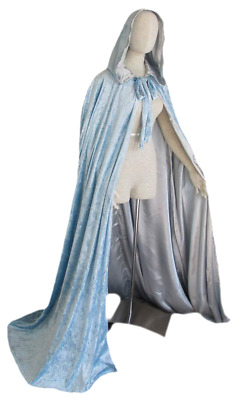 "50"" Light Blue Hooded Cloak Fairy Cape Princess Ice Queen Witch Theater Costume"