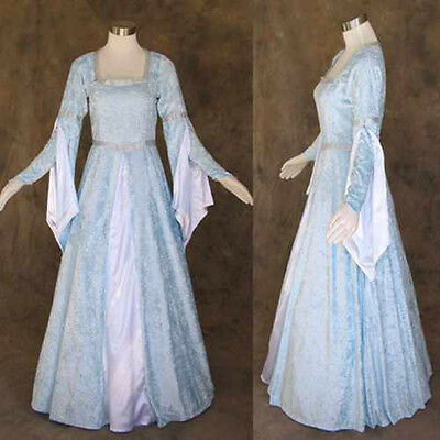 Light Blue Crushed Velvet Medieval Renaissance Gown Dress Costume LOTR Wedding M