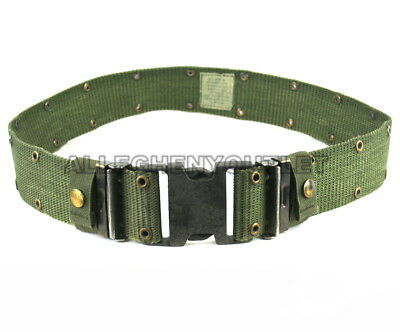 Individual Equipment Pistol Web Belt OD Green Black Buckle Large US Military VGC