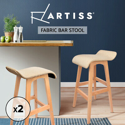 Artiss 2x Wooden Bar Stools Kitchen Bar Stool Fabric Seat Dining Chairs Beige