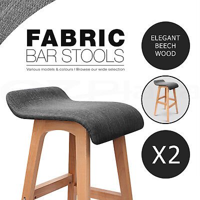 2x Wooden Bar Stools Padded Fabric Seat Dining Chairs Beech Black 1568