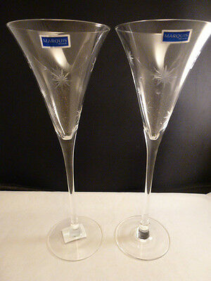 """Pair Marquis by Waterford Crystal Celebration Toasting Wedding 11"""" Flutes New"""