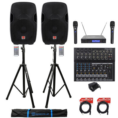 """(2) Rockville BPA15 15"""" 1600w Active PA/DJ Speakers+Mixer+Mic+Stands+Cables+Bag"""