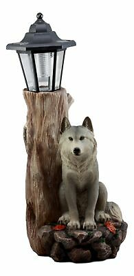Woodlands Lone Gray Wolf Greetings Figurine Solar LED Light Lantern Welcome Lamp