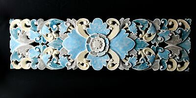 """Bali Lotus Wood Architectural Panel Hand Carved Blue Painted Wall Art 39"""""""
